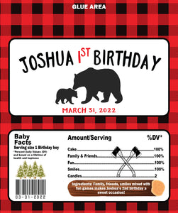 Lumberjack personalized full size Hershey candy wrapper