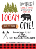 lumberjack birthday personalized invitation