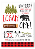 Lumberjack wild one invitation