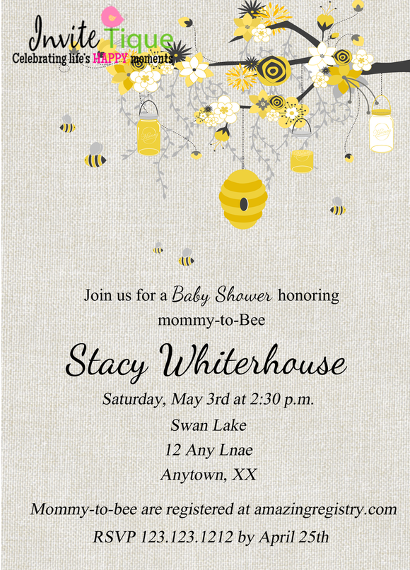 Grey Mom-to-BEE Baby shower Invitations - Invitetique