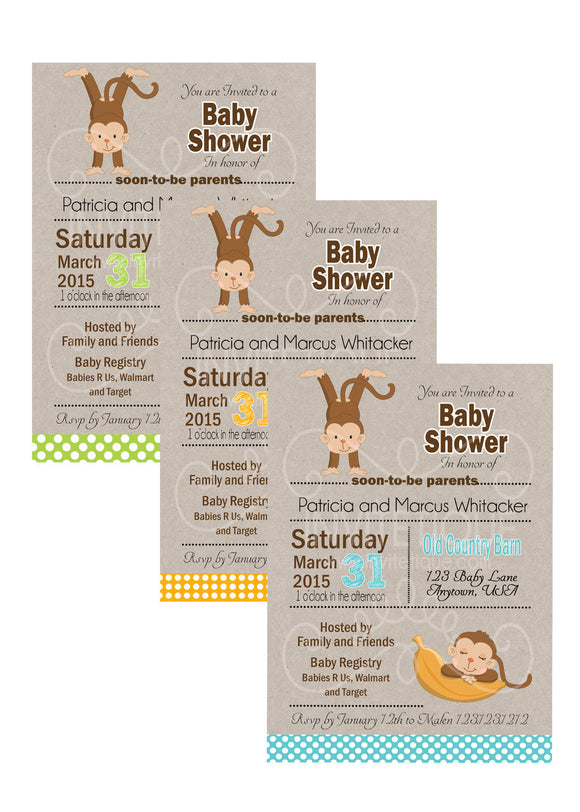 Jungle Monkey Boy Baby Shower Invitations - Invitetique