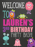 Monster girl birthday party welcome personalized sign