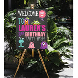 little monster girl birthday party welcome signs