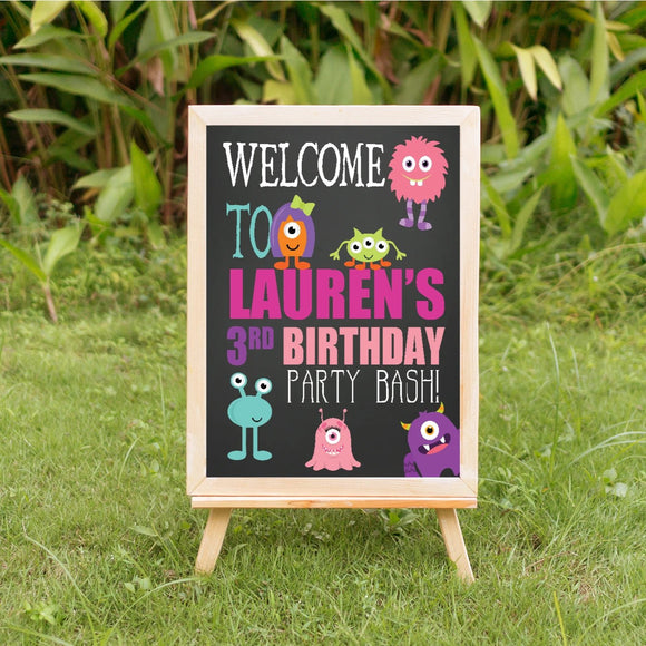 lil monster girl birthday party welcome sign