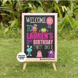 Little Monster girl birthday yard sign