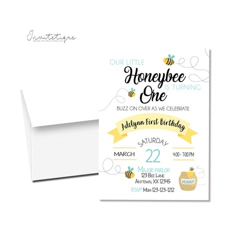 Honeybee birthday invitation