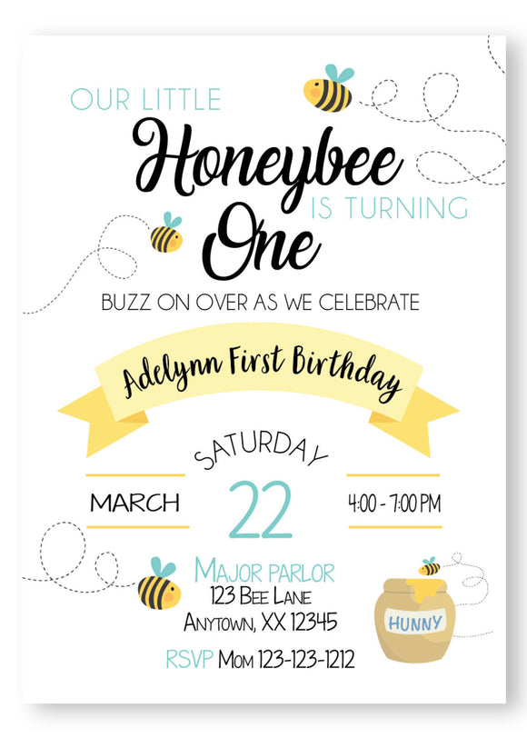 bumble bee, honey bee, honey bee invitation, bee first birthday invitation