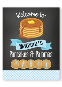 Pancakes and PJ Boy welcome party sign