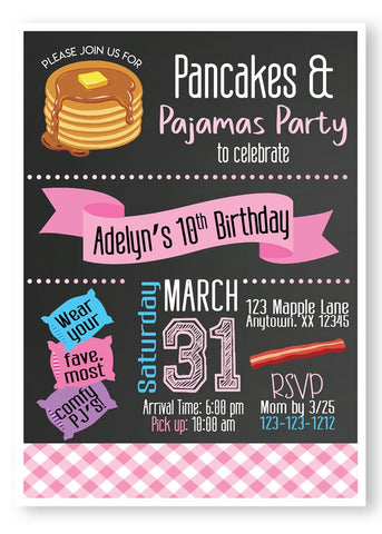 Pancakes birthday party, invitations, pancakes and pajamas birthday invitations, sleepover party invitation, sleepover birthday party