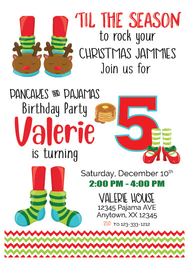Pancakes & PJ'S Christmas Invitation