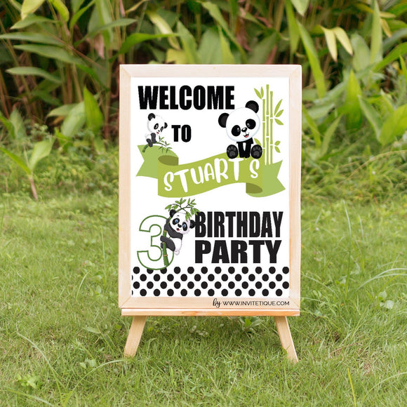 Boy panda birthday yard decoration