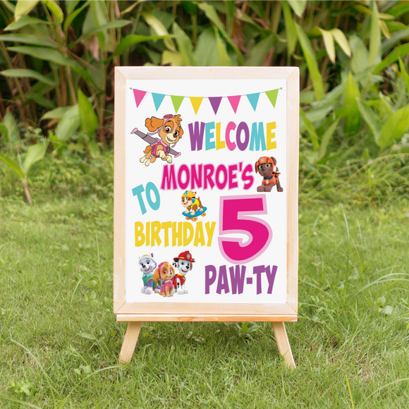 Paw Patrol Welcome sign party decoration girl