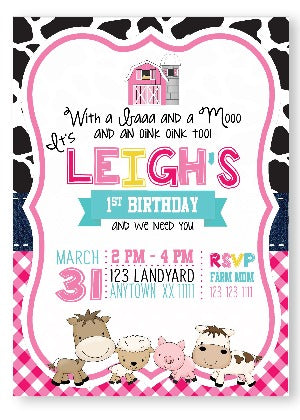 Pink Barnyard printed Birthday Invitations - Invitetique