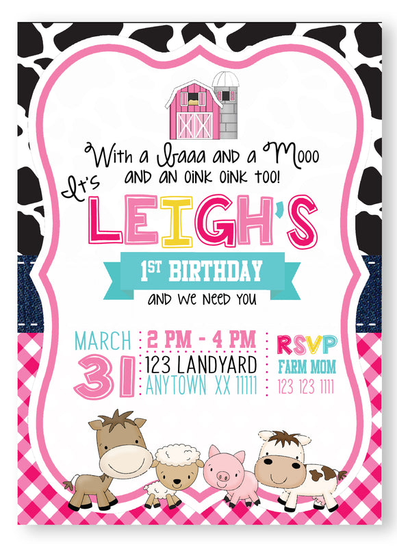 Pink Barnyard Birthday Invitations - Invitetique