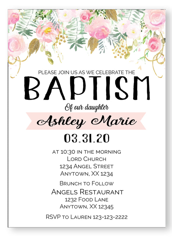 Baptism Pastel Roses Invitations - Digital - Invitetique