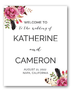 flowers and feathers wedding sign
