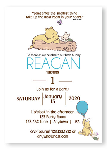 Classic Bear Pooh Party Invitation Boy - PG101-B - Invitetique