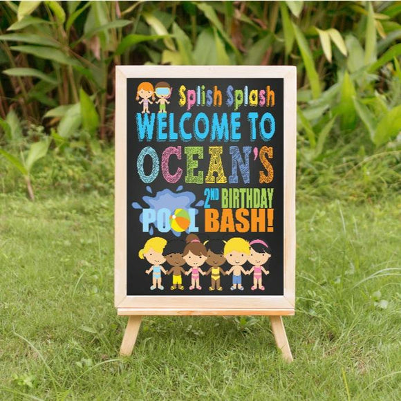 Pool Party birthday welcome sign