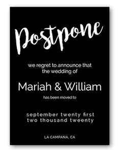 postpone wedding announcement black and white