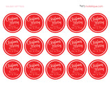 red circle holiday gift wrapping tags, tags, Christmas tags