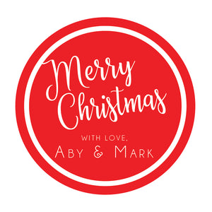 Red circle Christmas gift tags, personalized gift tags, tags, gift wrapping tags