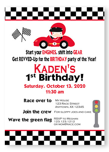 Race Car Birthday Invitations - Invitetique