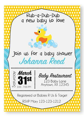 Yellow Rubber Ducky Baby Shower Invitations - Invitetique