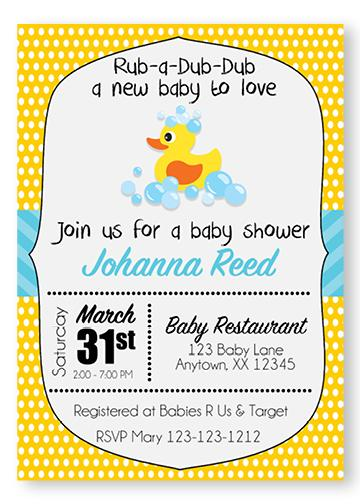 Yellow Rubber Ducky Baby Shower Invitations - Digital - Invitetique