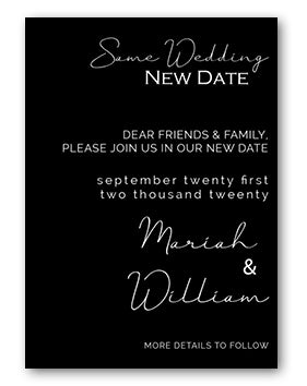 Same wedding new date black and white announcements