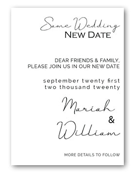 Same wedding new date announcement