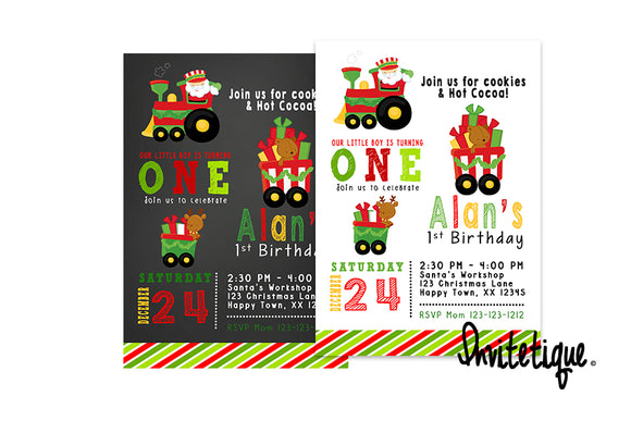 Santa Train Birthday Christmas Invitations - Invitetique