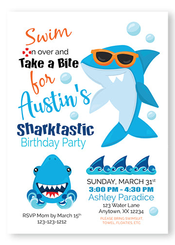 Shark Summer Birthday Party Invitations - Invitetique