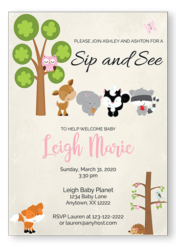 Woodland Friends Sip And See Invitations