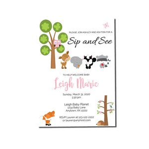 Woodland Friends Sip and See we print invitations - Invitetique