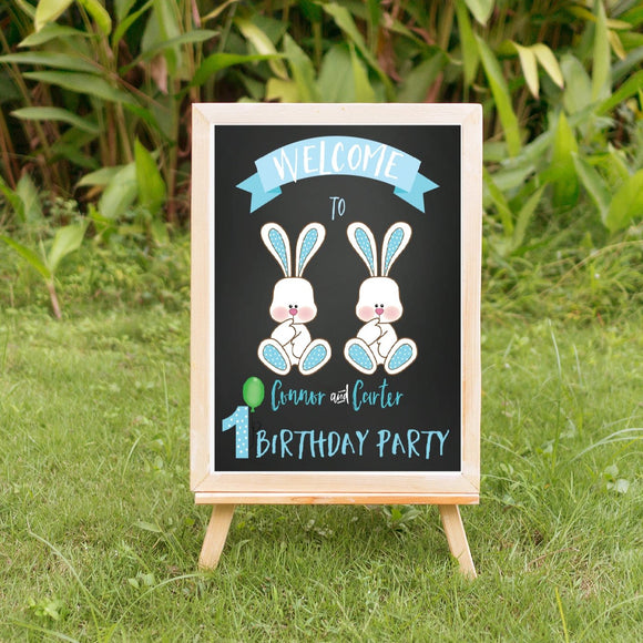 Spring bunnies twin boy sign, welcome sign, birthday bunny welcome sign