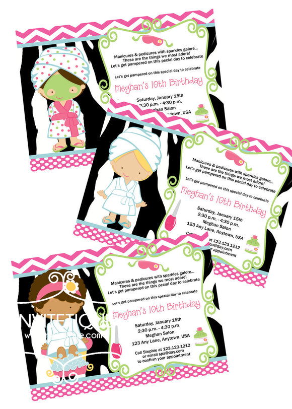 Spa Day Birthday Invites - Invitetique