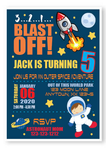 Outer Space Astronaut Kids personalized invitations