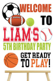 sports cake table personalized poster, birthday signage