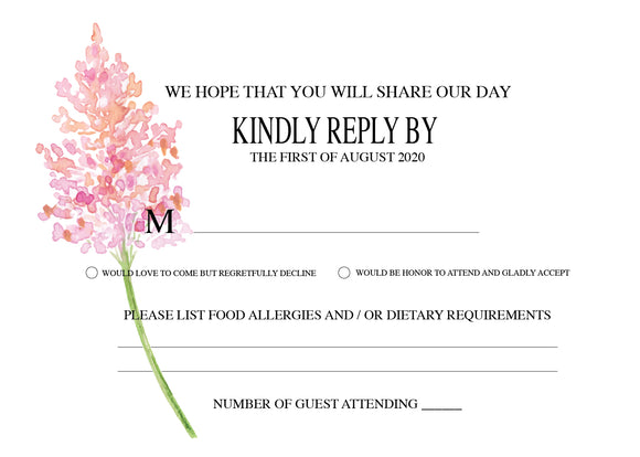 Spring Branch Wedding RSVP Cards