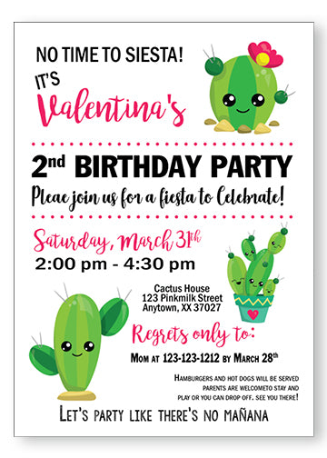 Stuck on you Cactus Birthday Invitation - Invitetique