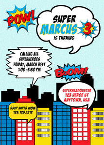 Superhero Birthday Invitation - Invitetique