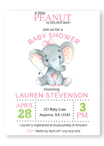 Sweet Baby Elephant Baby Shower Invitations - Invitetique
