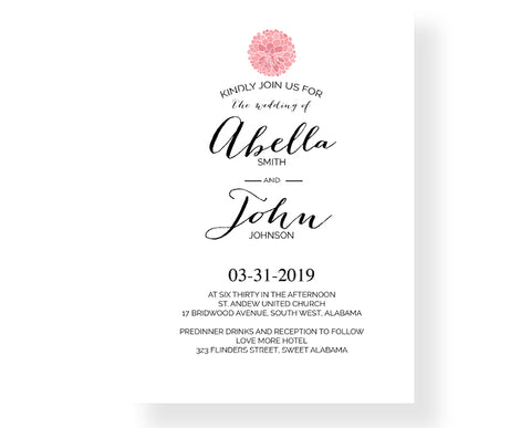 Wedding Invitation - Dahlias Botanical 247 - Invitetique