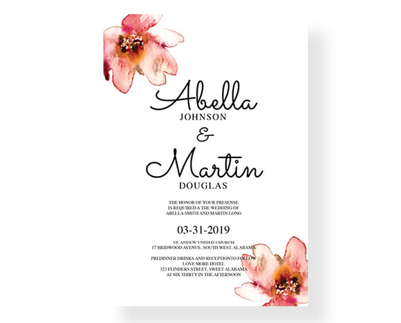 Ellis Flower Wedding Invitations - Invitetique
