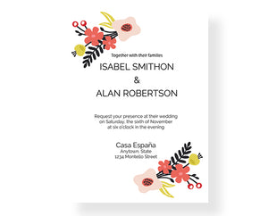 Laurel and Floral Wedding Invitations -987 - Invitetique