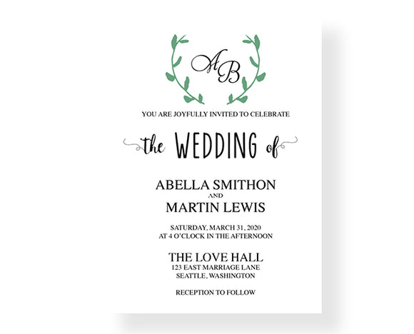 Laurel Wedding Invitations - Botanical 3108 - Invitetique