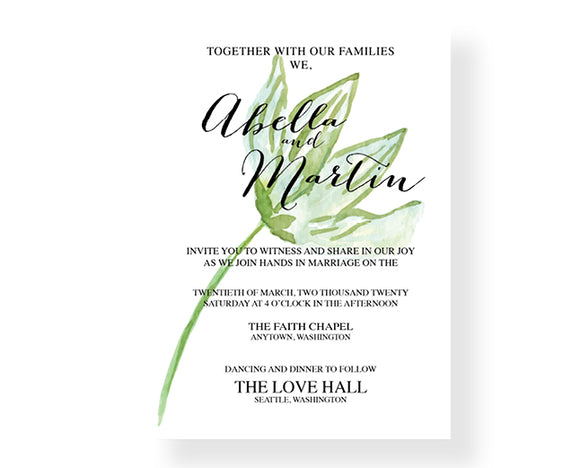 Minimal Botanical Wedding Invitations - Invitetique