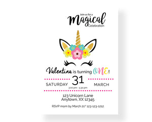 Magical Unicorn We Print Birthday Invitations - Invitetique