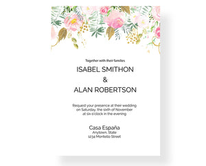 Watercolor Bouquet Wedding Invitations - 1921 - Invitetique