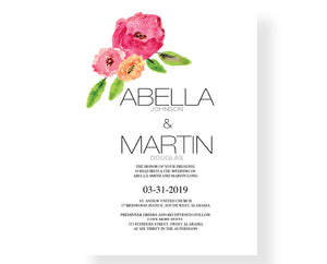 Simple Flower Watercolor Wedding Invitations - Invitetique